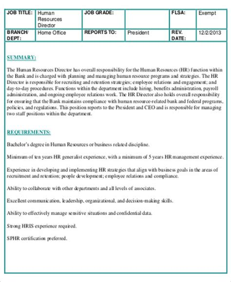 director description 10 hr director description sles sle templates