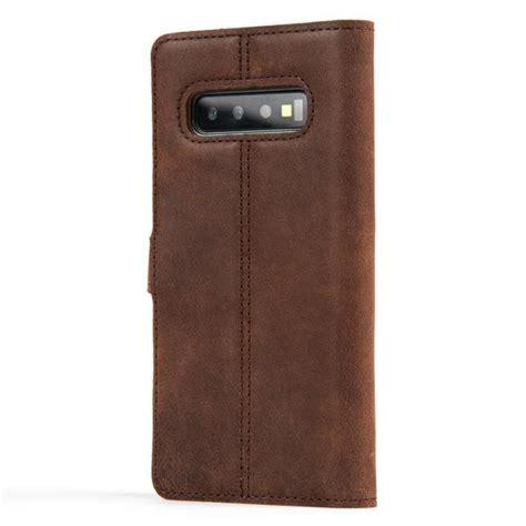 Samsung Galaxy S10 Leather by Snakehive Vintage Chestnut Brown Leather Wallet Samsung Galaxy S10