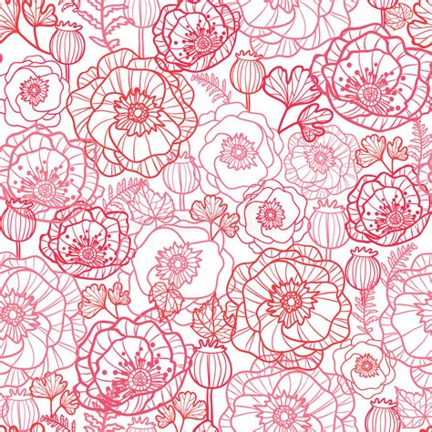 flowers seamless pattern element vector background poppy flowers line art seamless pattern background stock