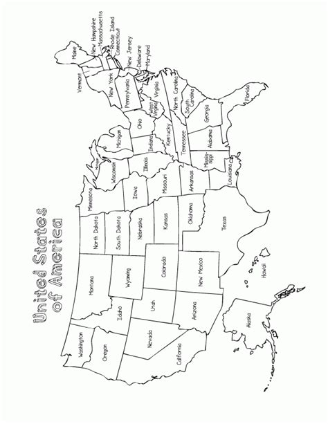 printable coloring pages us map maps united states map to color printable usa state map
