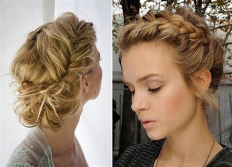 formal side french braid updo looks like a loose french braid across the front and