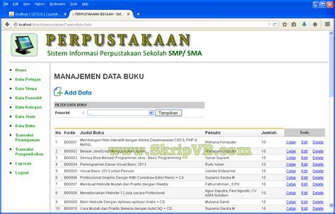 sistem informasi perpustakaan berbasis web dengan php