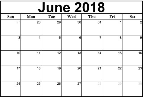 June 2018 Calendar Word Printable Calendar 2018 Template Word