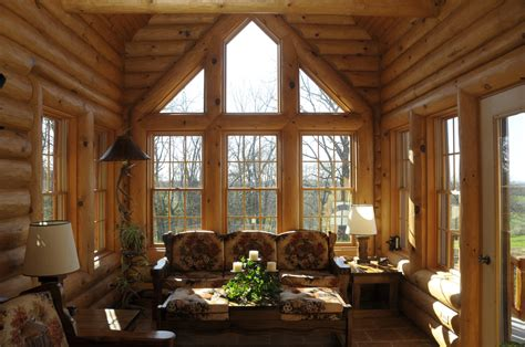 Log Sunrooms Log Home On Loft Office Log Homes And