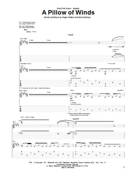 Pink Floyd Pillow Of Winds a pillow of winds by pink floyd guitar tab guitar instructor