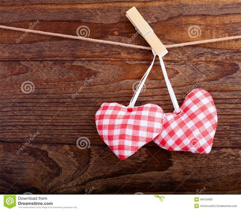 Handmade Hearts - valentines vintage handmade hearts wooden stock photo