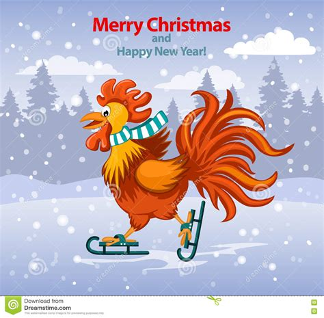 new year rooster greetings new year card with rooster on a white