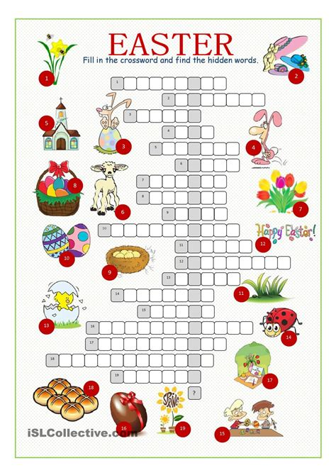 printable easter activity sheets easter crossword puzzle english pinterest easter