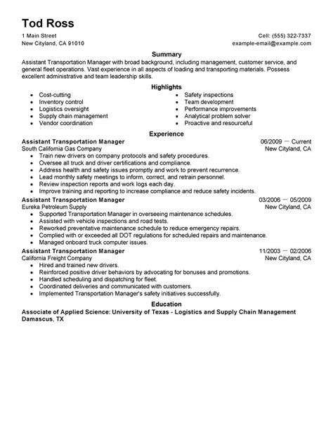 Transportation Assistant Sle Resume by Assistant Manager Resume Exles Transportation Resume Sles Livecareer