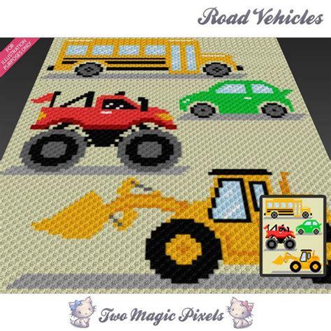 road vehicles cc crochet graph  twomagicpixels craftsy