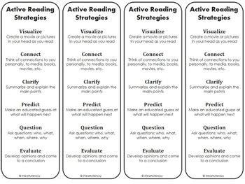 printable bookmarks reading strategies active reading strategies worksheet geersc