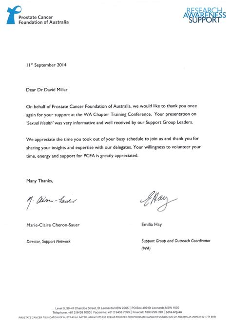 Thank You Letter Rotation Western Australian Sexual Health Centre