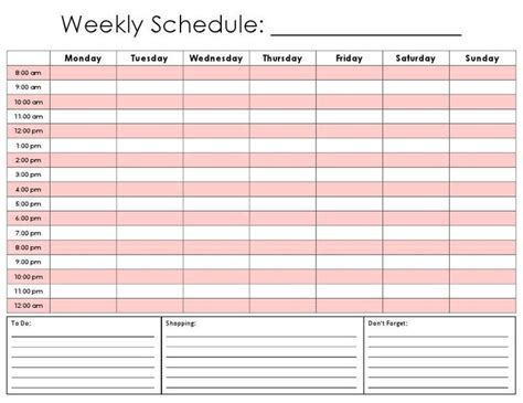 template for a weekly schedule downloadable daily calendar template helloalive