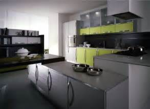 modern kitchen features gray cabinets