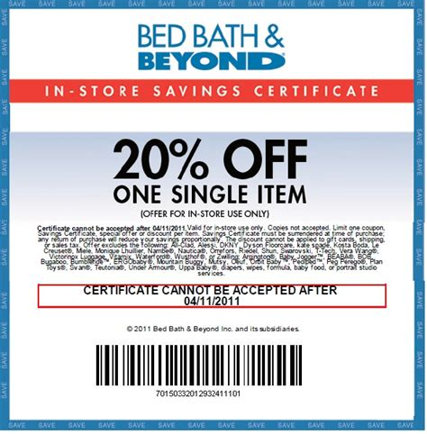 bed bath beyond 20 off item printable coupon