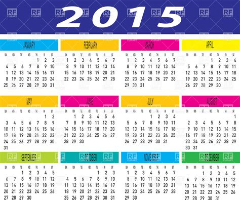layout calendar 2015 layout of 2015 year calendar royalty free vector clip art