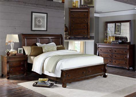 Rustic Bedroom Set With Storage Sinclair Rustic Russet Sleigh Storage Bedroom Set 428 Br