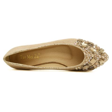 Low Heel Pointed Flats fashion pointed toe closed basic low heel golden pu flat