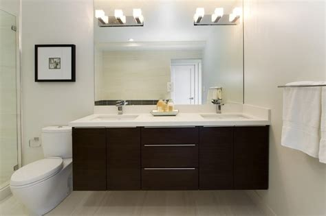 Floating Bathroom Cabinets by Lavish Bathroom Interior Design With Darkwood