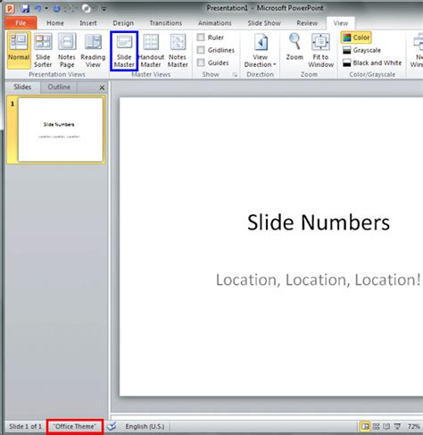 powerpoint 2010 themes location changing location of slide numbers in powerpoint 2010