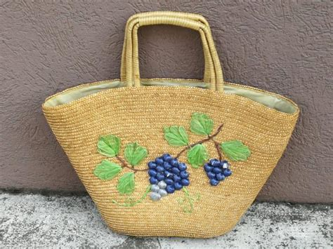 embroidered raffia bag  handles etsy