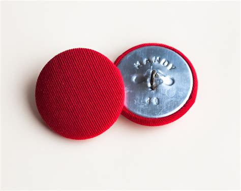 how to put buttons on upholstery 6 vintage red fabric covered shank buttons 1 metal