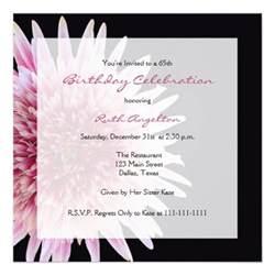 65th birthday invitation gerbera 5 25 quot square invitation card zazzle