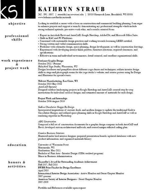 Interior Designer Resume Exle by Interior Decor Resume Sales Interior Design Lewesmr