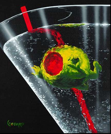 martini painting artist michael godard paintings dancing olives 866 254 6523