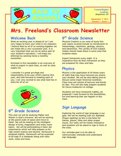 exles of newsletter templates best photos of sle school newsletter templates free