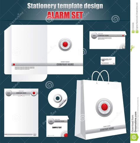 alarm security code card template stationery template design alarm set stock vector image
