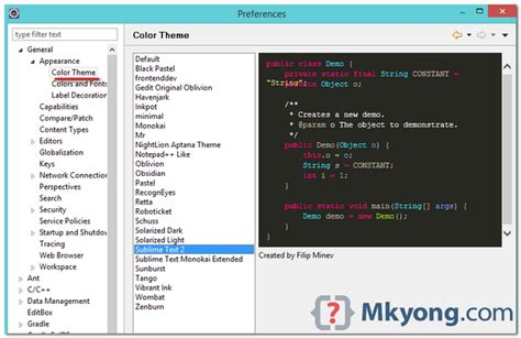 change themes in eclipse how to change eclipse theme mkyong com