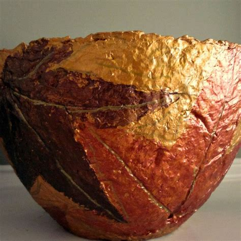 Handmade Paper Bowls - handmade paper mache bowl gold and copper leaves papier