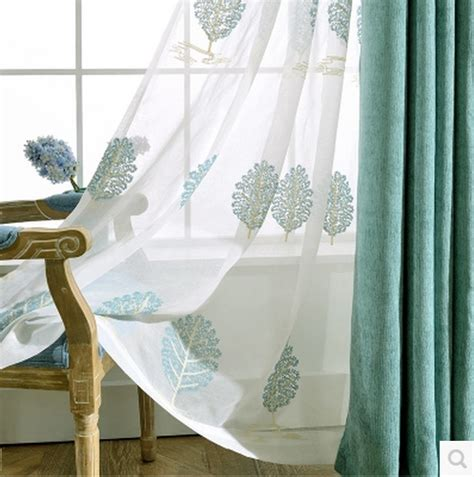 embroidered linen curtains 1pc 2 color high grade cotton embroidered linen curtains