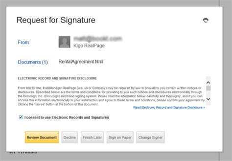 electronic signature template electronic signature consent message