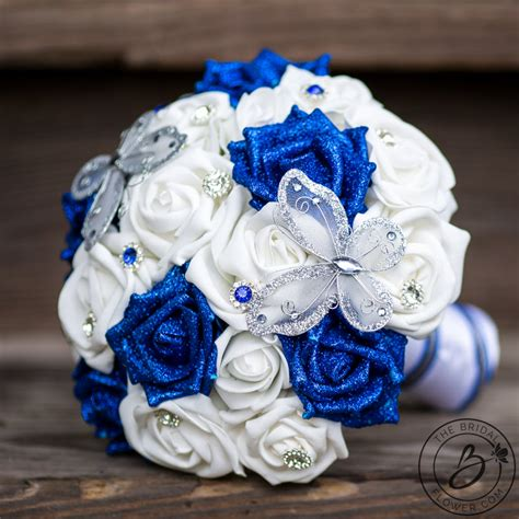 Wedding Bouquet Royal Blue by Butterfly Wedding Bouquet With Royal Blue Glitter Roses