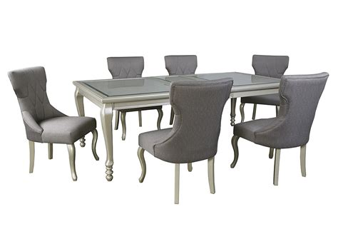 silver dining room chairs harlem furniture coralayne silver finish rectangular