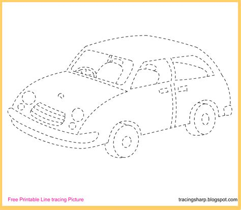 Free Printable Tracing Worksheets by Free Tracing Line Printable Car Tracing Picture