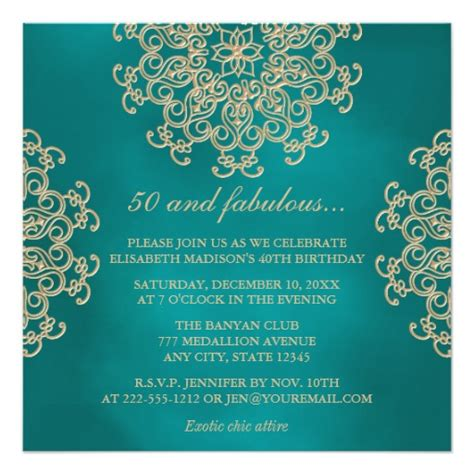 indian birthday invitation cards teal and gold indian inspired birthday square paper invitation card