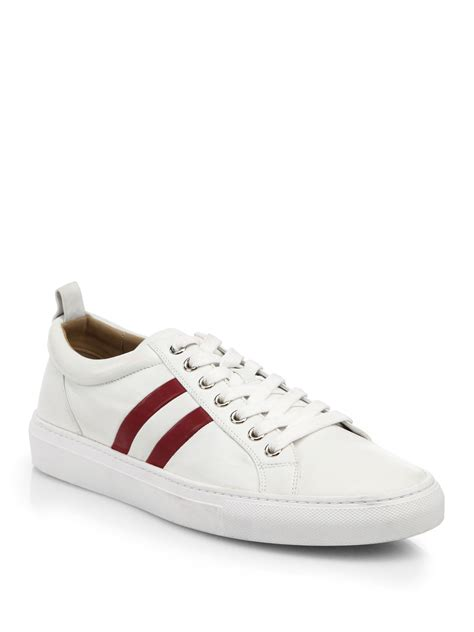 bally perforated trainspotting lace up sneakers in white