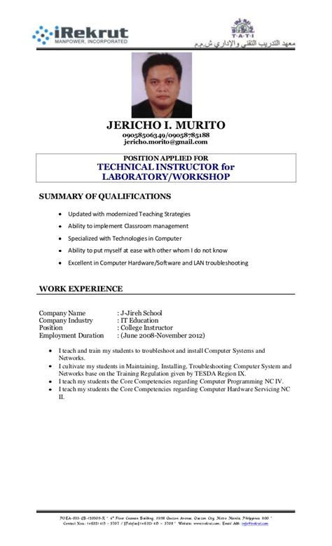 Resume Sle Format For Ojt Resume Format Tati