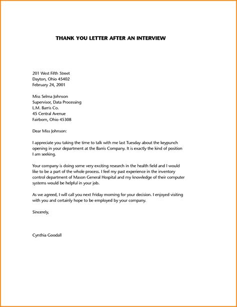 6 sample thank you letter after job interview data analyst resumes