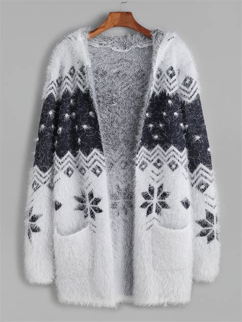 snowflake pattern sweater color block snowflake pattern fuzzy hooded sweater coatfor