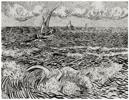 find a boat at sea fishing boat at sea a by vincent van gogh 943 drawing