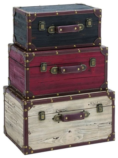 Home Decor Trunks Benzara Woodland Imports The Port Fashioned Set Of 3 Wood Trunks Black White