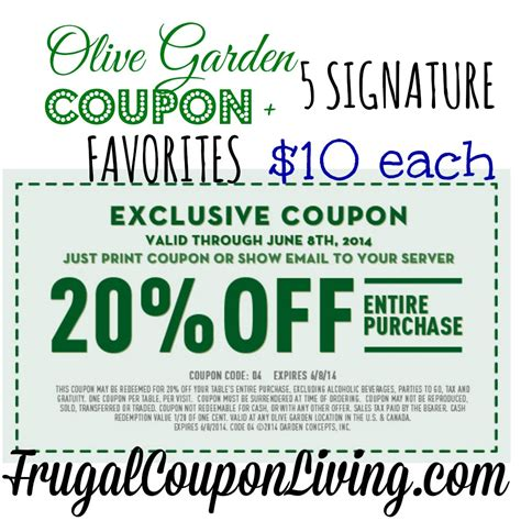 olive garden coupon discount code olive garden coupon 20 off the entire table 10 favorites