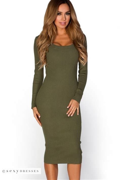 Ribbed Knit Sleeve Dress lynette olive green scoop neck sleeve ribbed knit