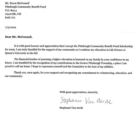 Thank You Letter For Scholarship Sles Writing A Cover Letter For A Scholarship Resume Cv Cover