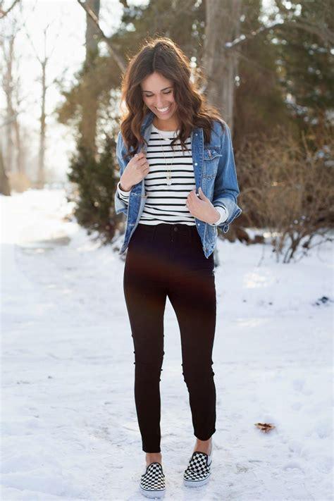 casual outfit denim jacket vans stripe shirt fashion
