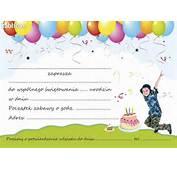 Zaproszenia Urodzinowe Dla Dzieci Z Kopert C6 Zaproszenie Urodziny